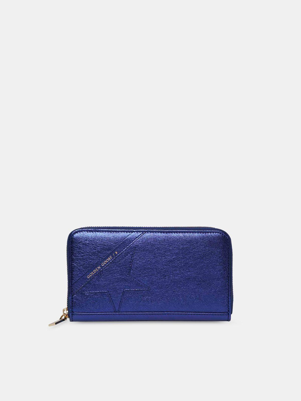 Golden Goose - Large metallic blue Star Wallet   in