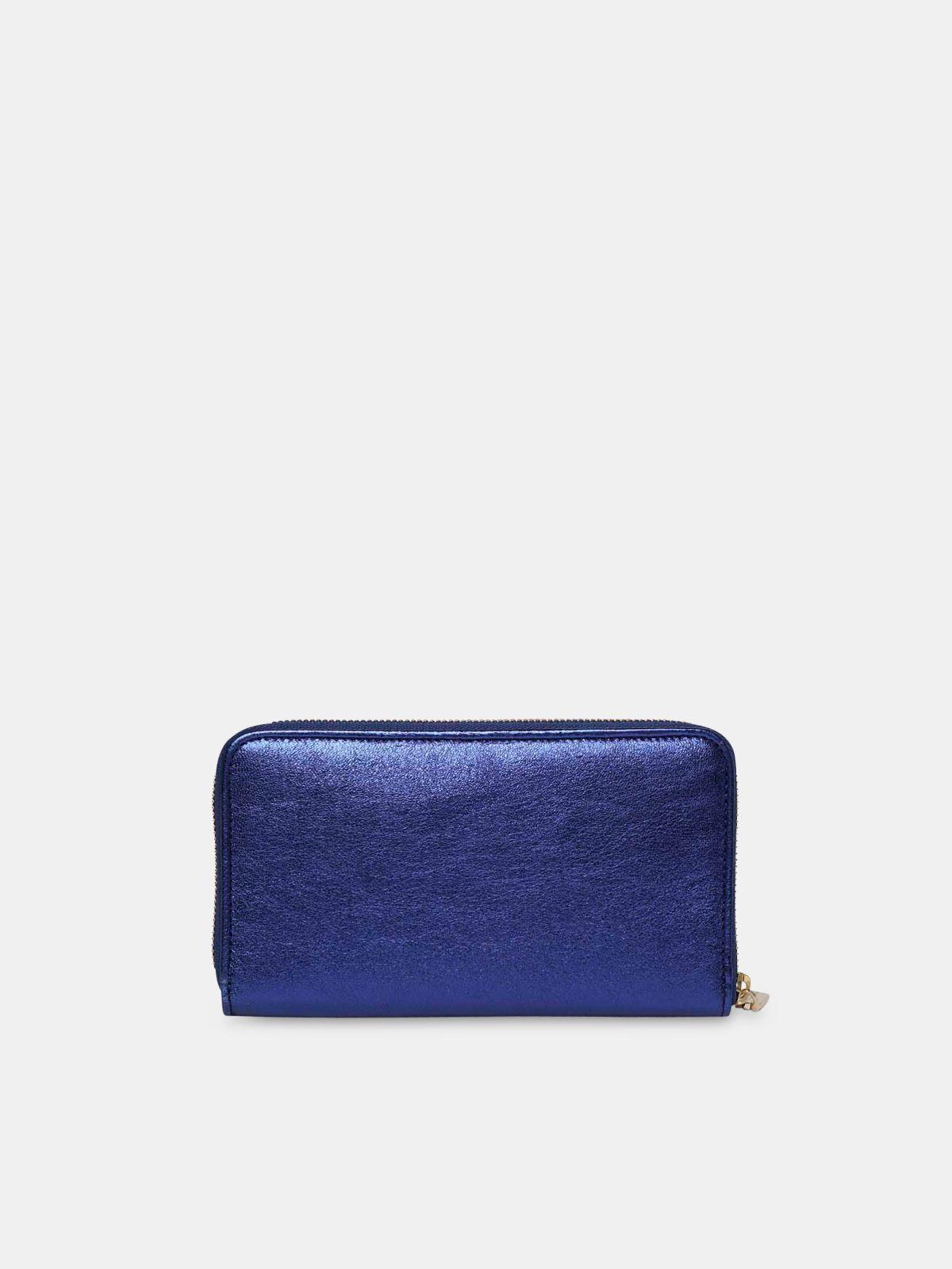 Golden Goose - Cartera Star Wallet large azul metalizado   in