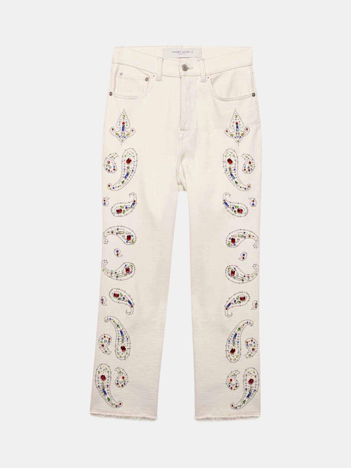Golden Goose - Jeans Texas in denim con decorazioni in strass e borchie in