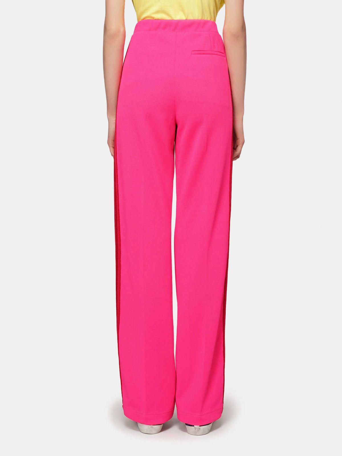 Golden Goose - Pantalon Kelly rose en tissu technique et taille en lurex in