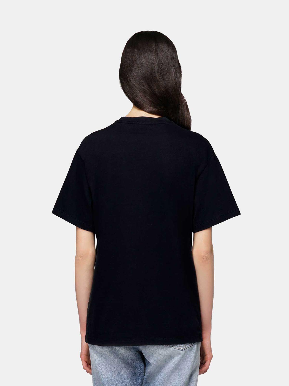Golden Goose - Black Golden T-shirt with flag print in