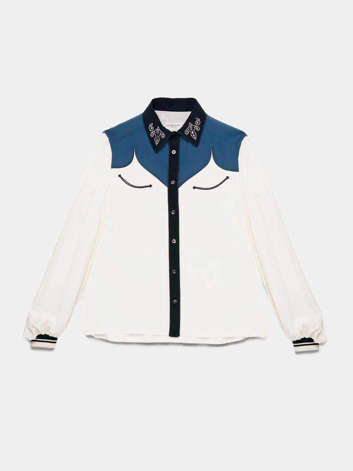 Golden Goose - Two-tone Madelyn silk shirt with studs on collar in