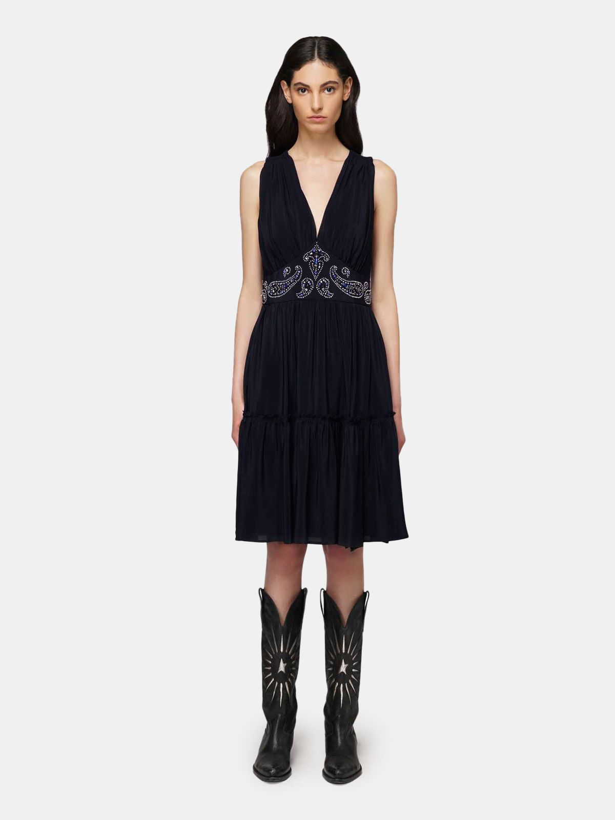 Golden Goose - Black silk Aubree dress with decorative studs in