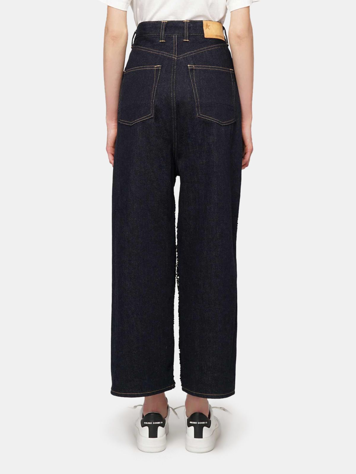 Golden Goose - Breezy trousers with reversible sequins and denim in