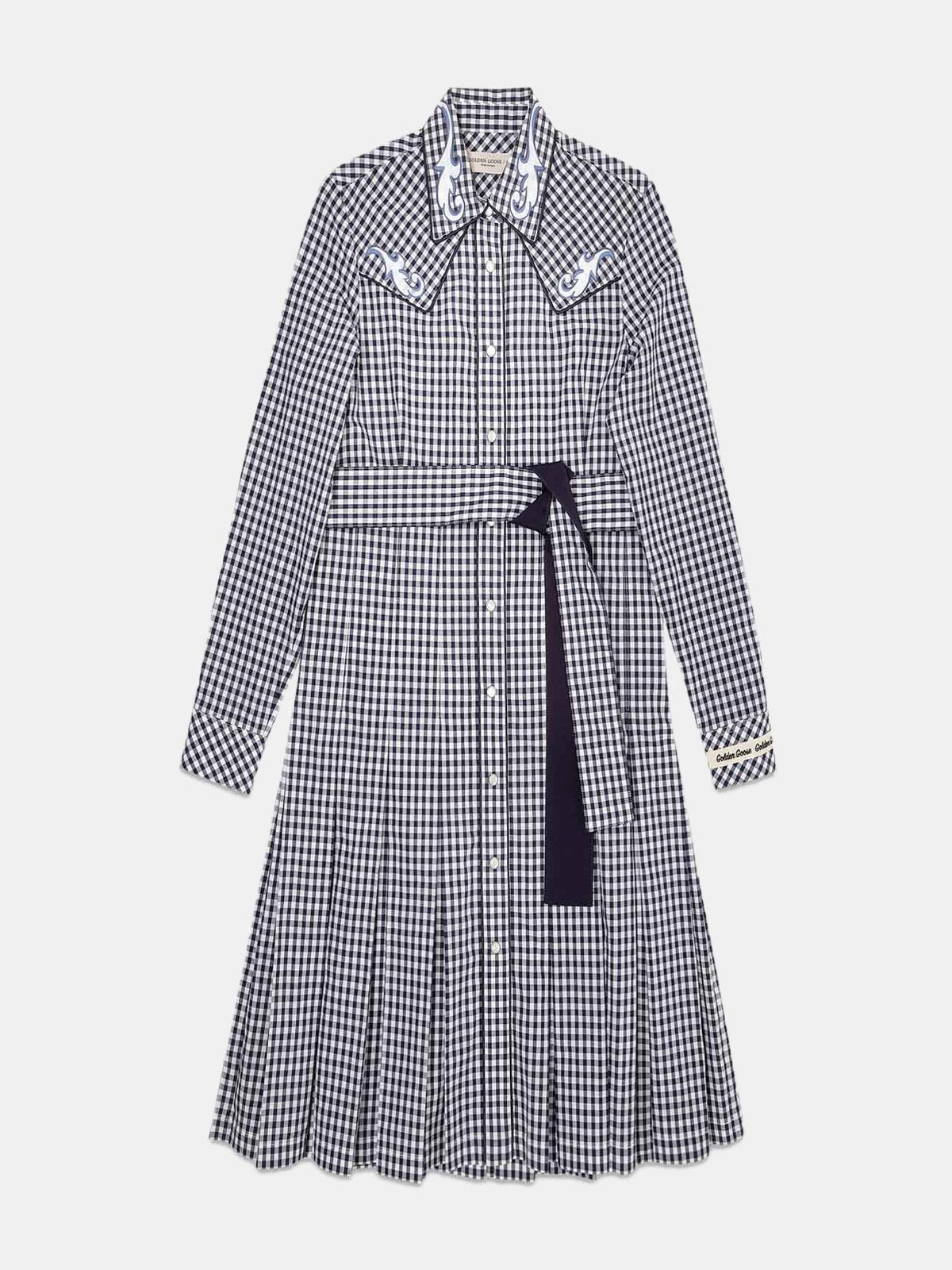 Golden Goose - Olivia dress with black and white checks and cowboy-style decorations in