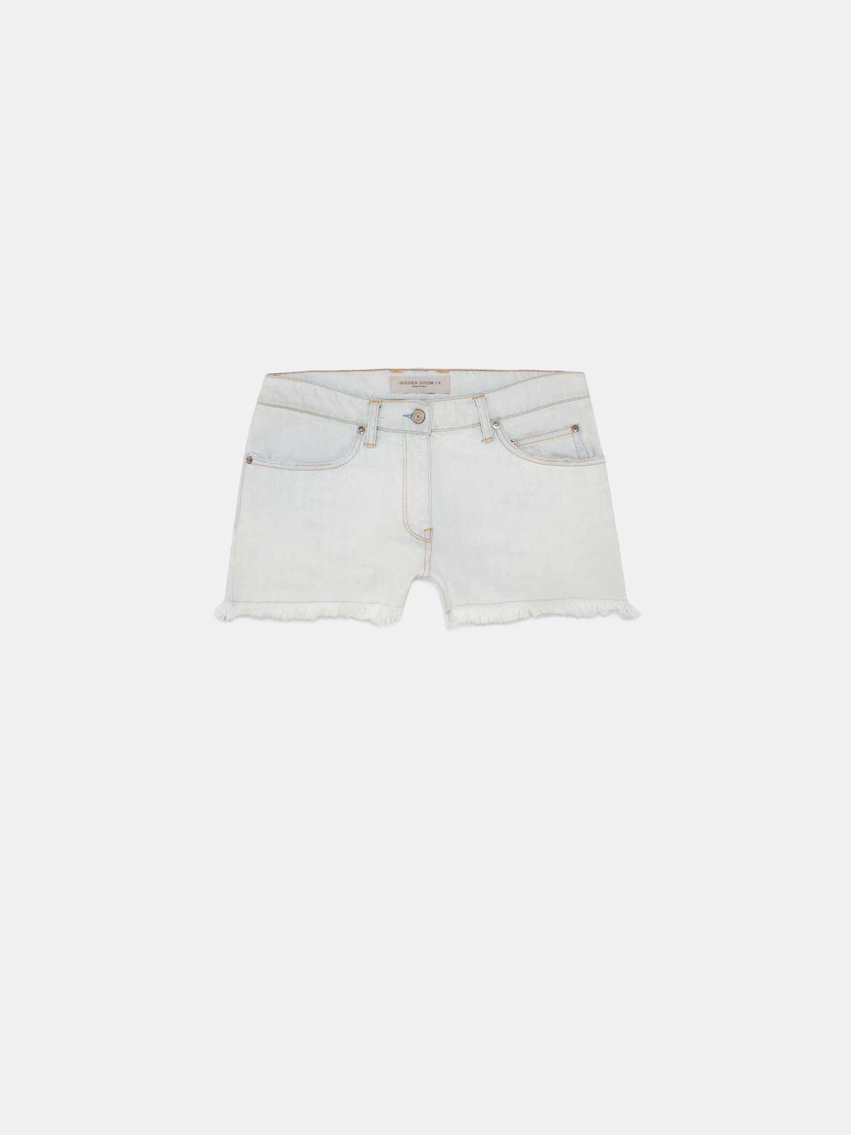 Golden Goose - Zoey shorts in lightened denim with fringed hem in