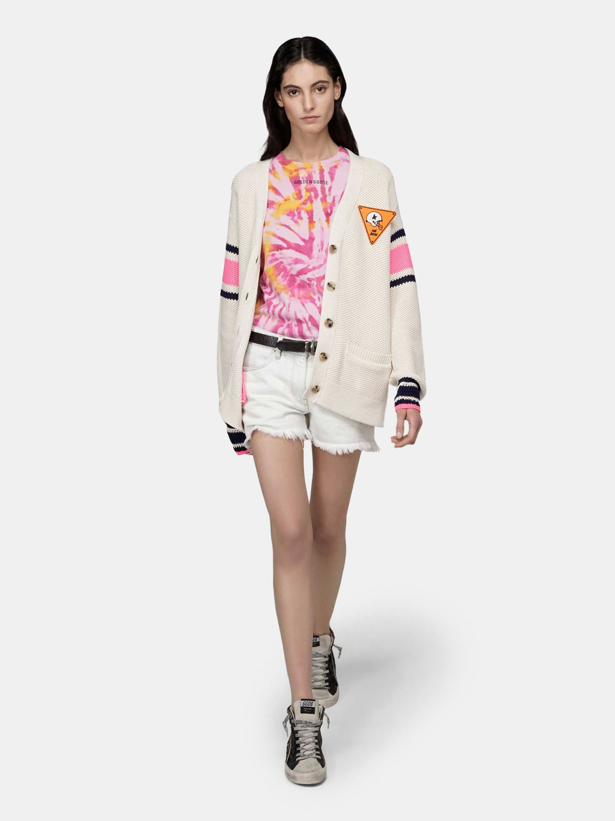 Golden Goose - Golden tie-dye T-shirt with Sneakers Lover print on the back in