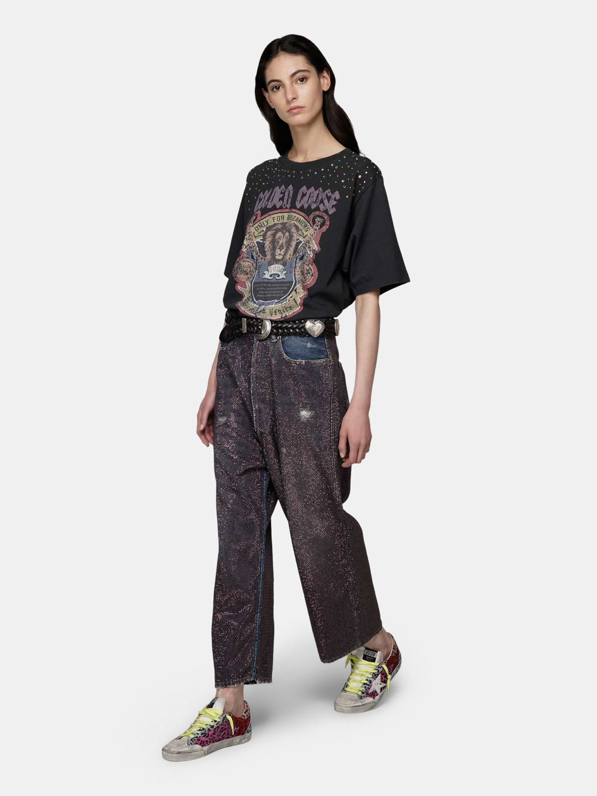 Golden Goose - Black oversize T-shirt with lion print and crystals in