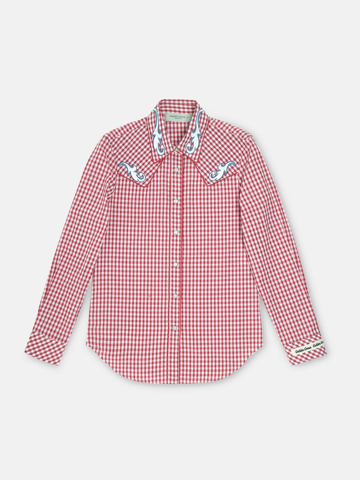Golden Goose - Camicia Betty a quadretti bianchi e rossi con stampa pin-up in