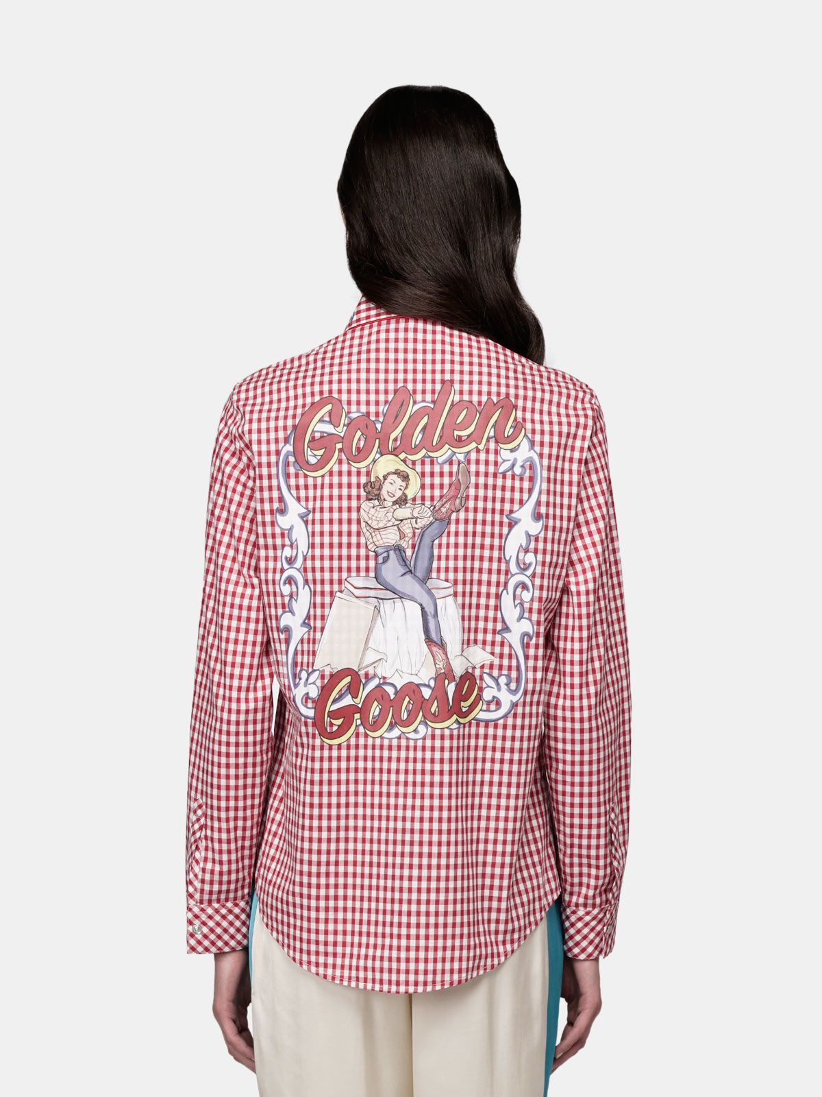 Golden Goose - Betty shirt with red and white checks and pin-up print in