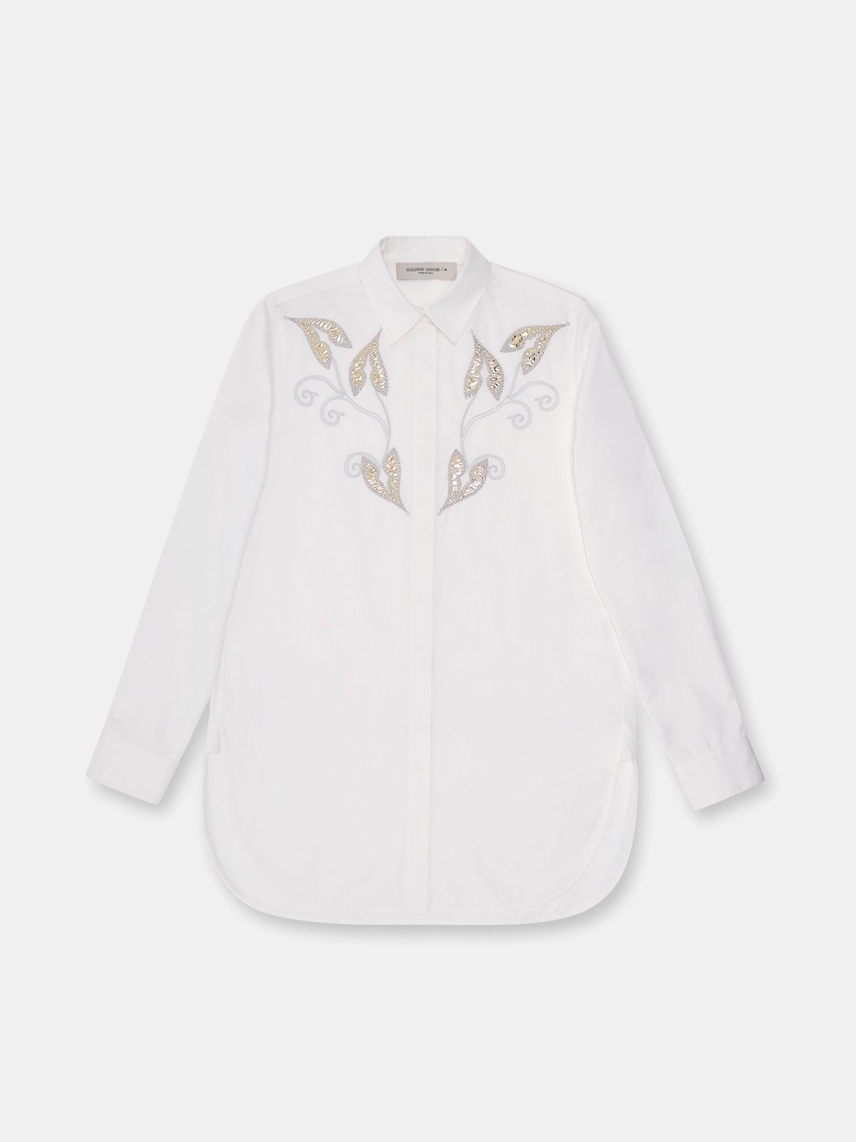 Golden Goose - Alice popilin shirt in white with gold leaf embroidery in