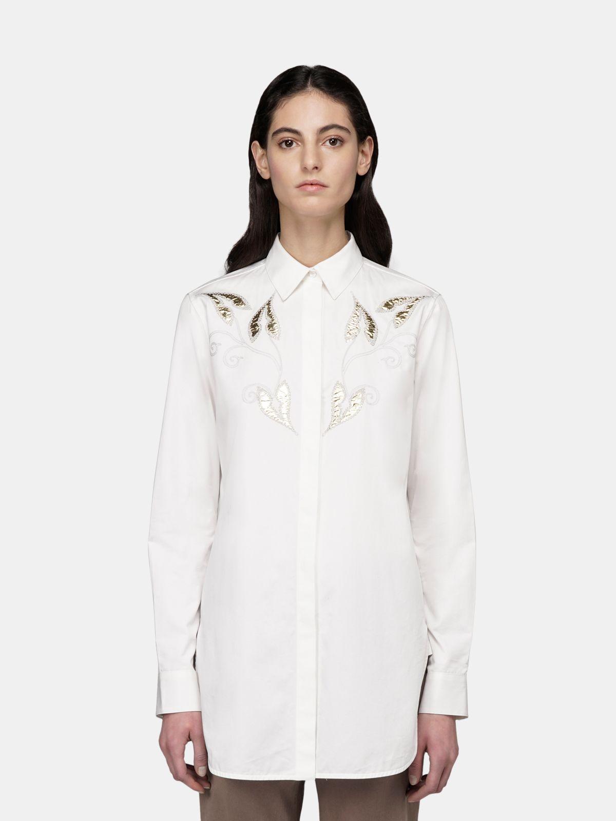 Golden Goose - Camicia Alice bianca in popeline con ricamo foglie dorate in