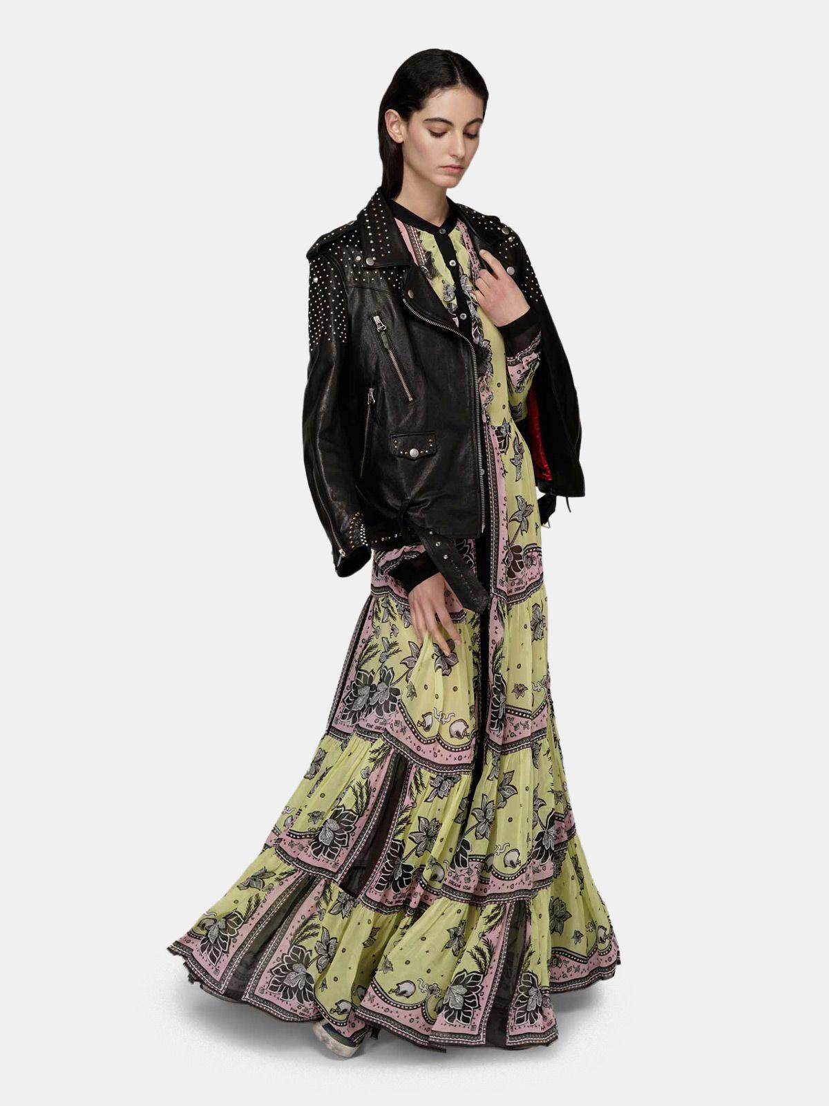 Golden Goose - Vestito Ella in georgette con stampa floreale in