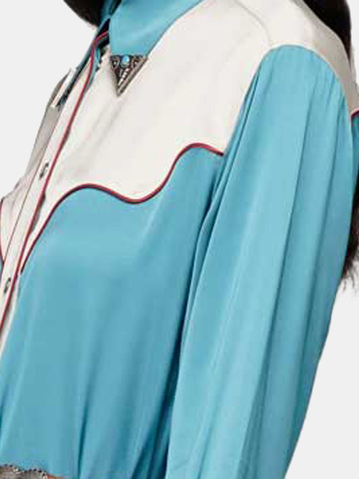 Golden Goose - Vestito chemise Skylar in raso beige e azzurro in