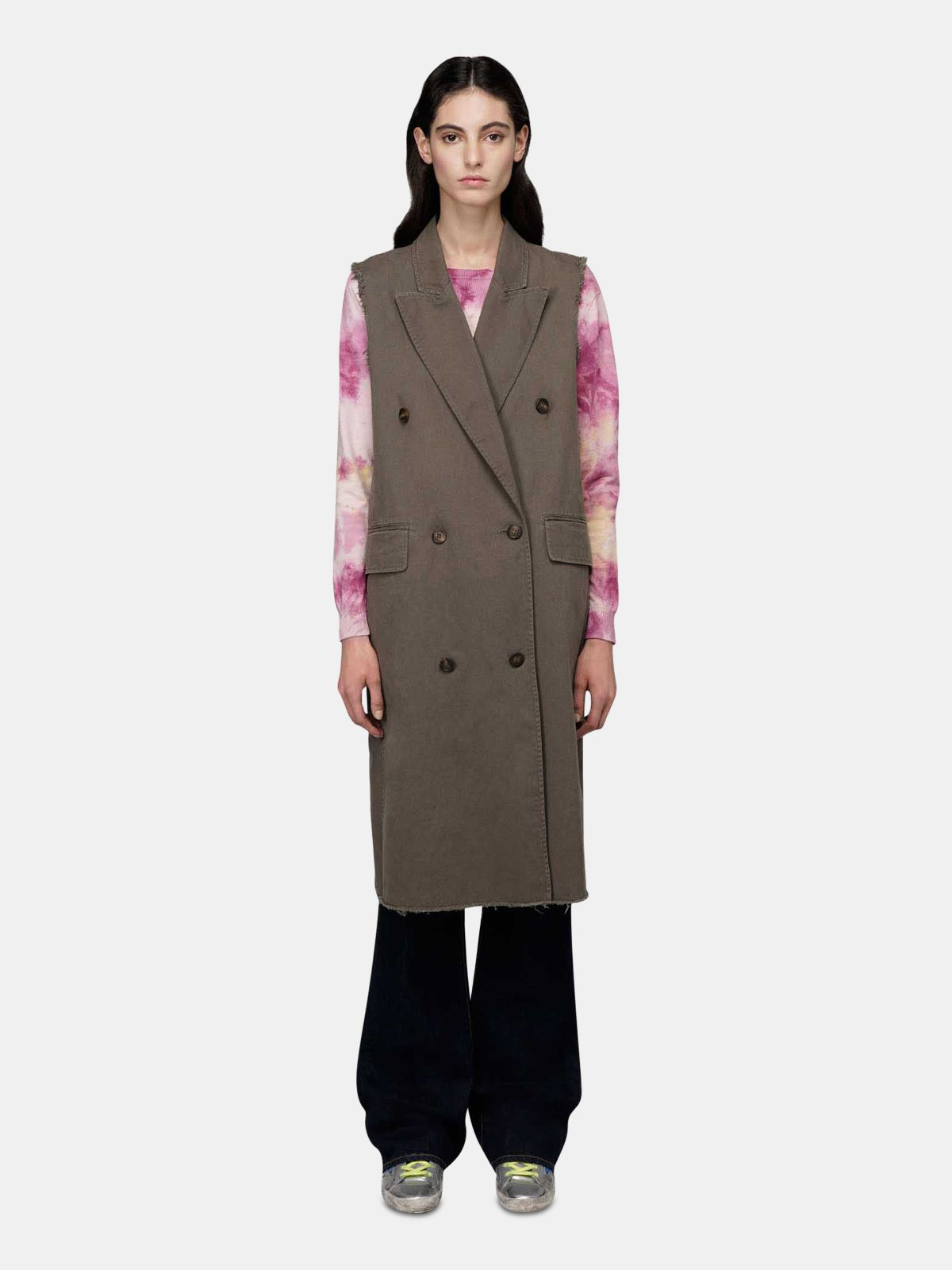 Golden Goose - Khloe olive-green sleeveless trench coat in