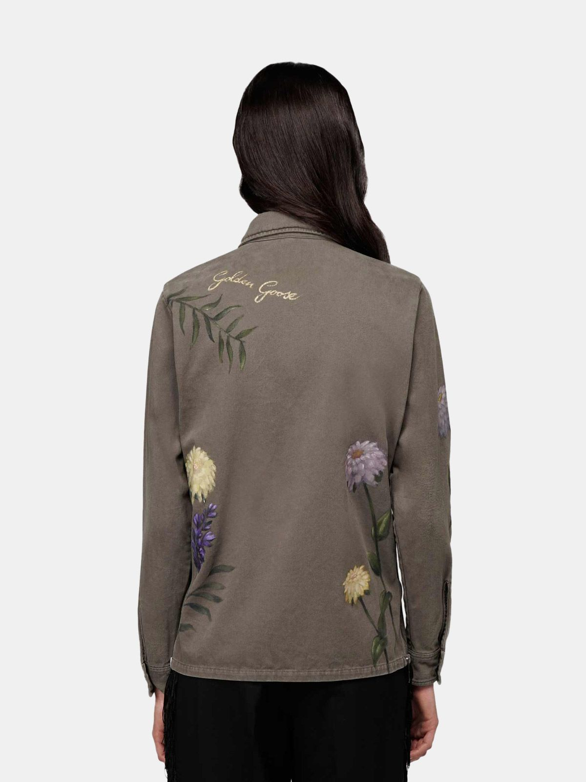 Golden Goose - Layla olive-green jacket with hand-painted flowers in