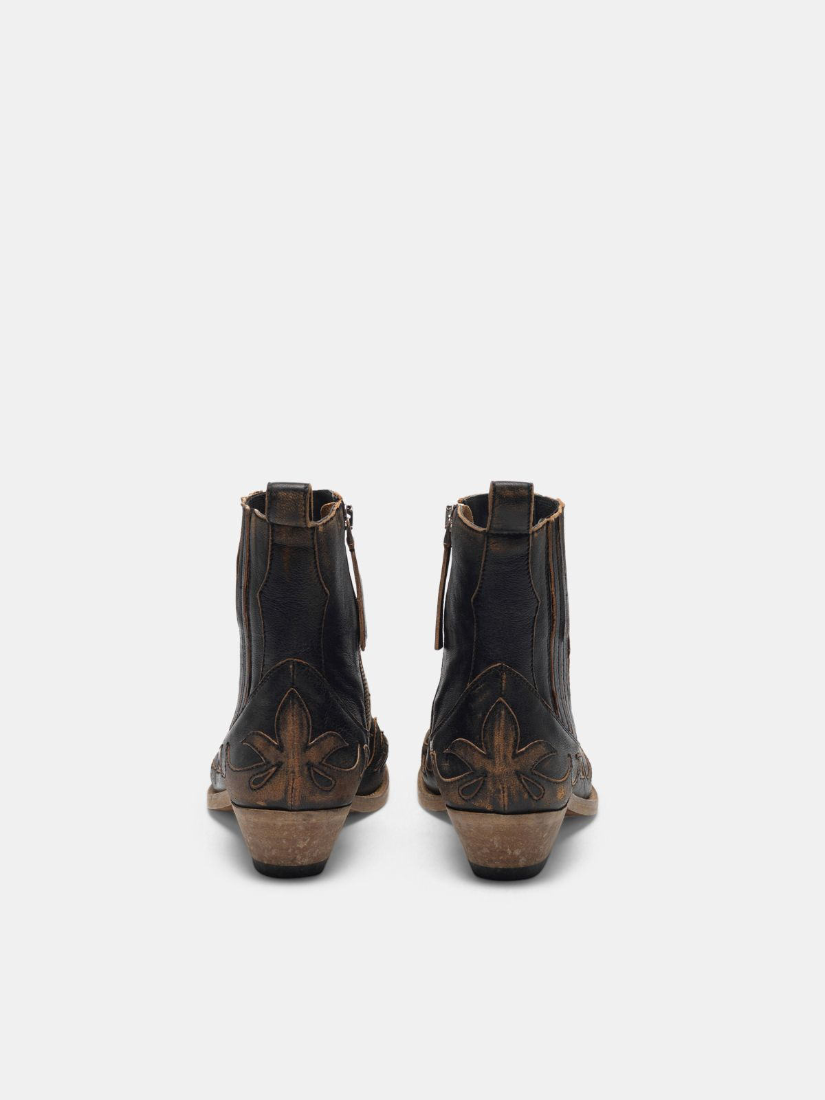 Golden Goose - Black aged-leather Santiago ankle boots in