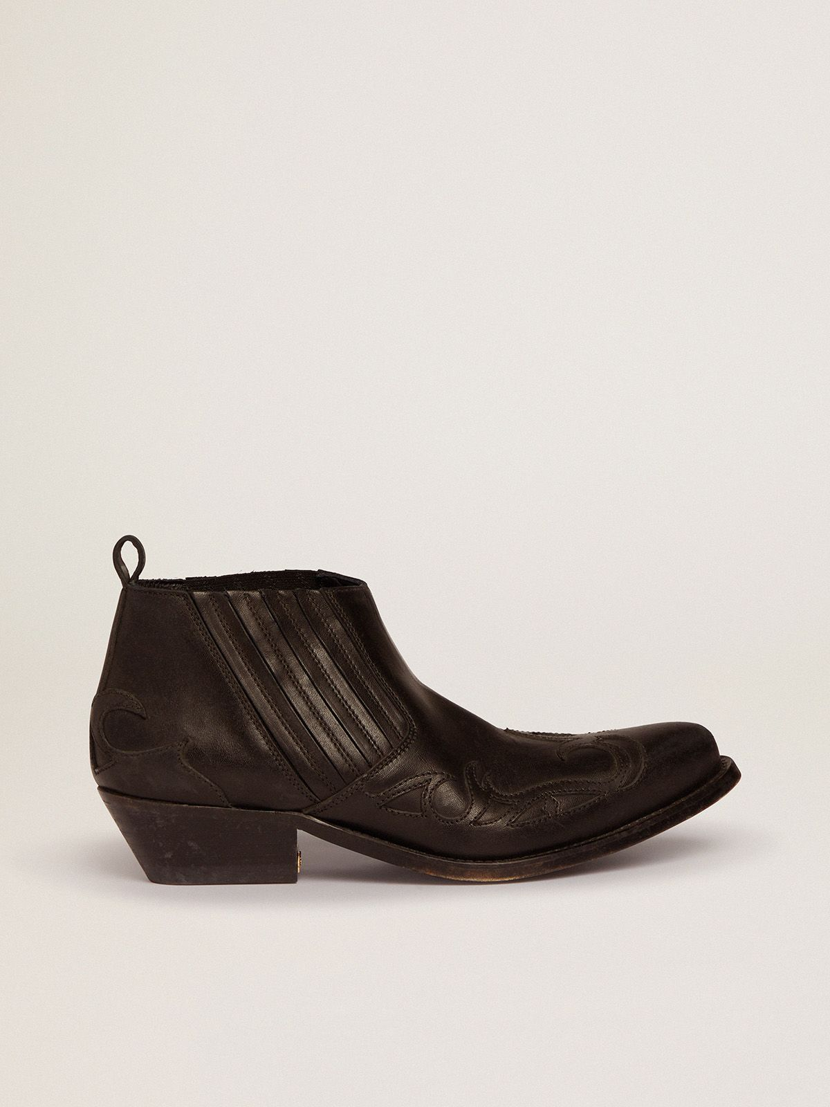 Golden Goose - Santiago Low ankle boots in black leather in