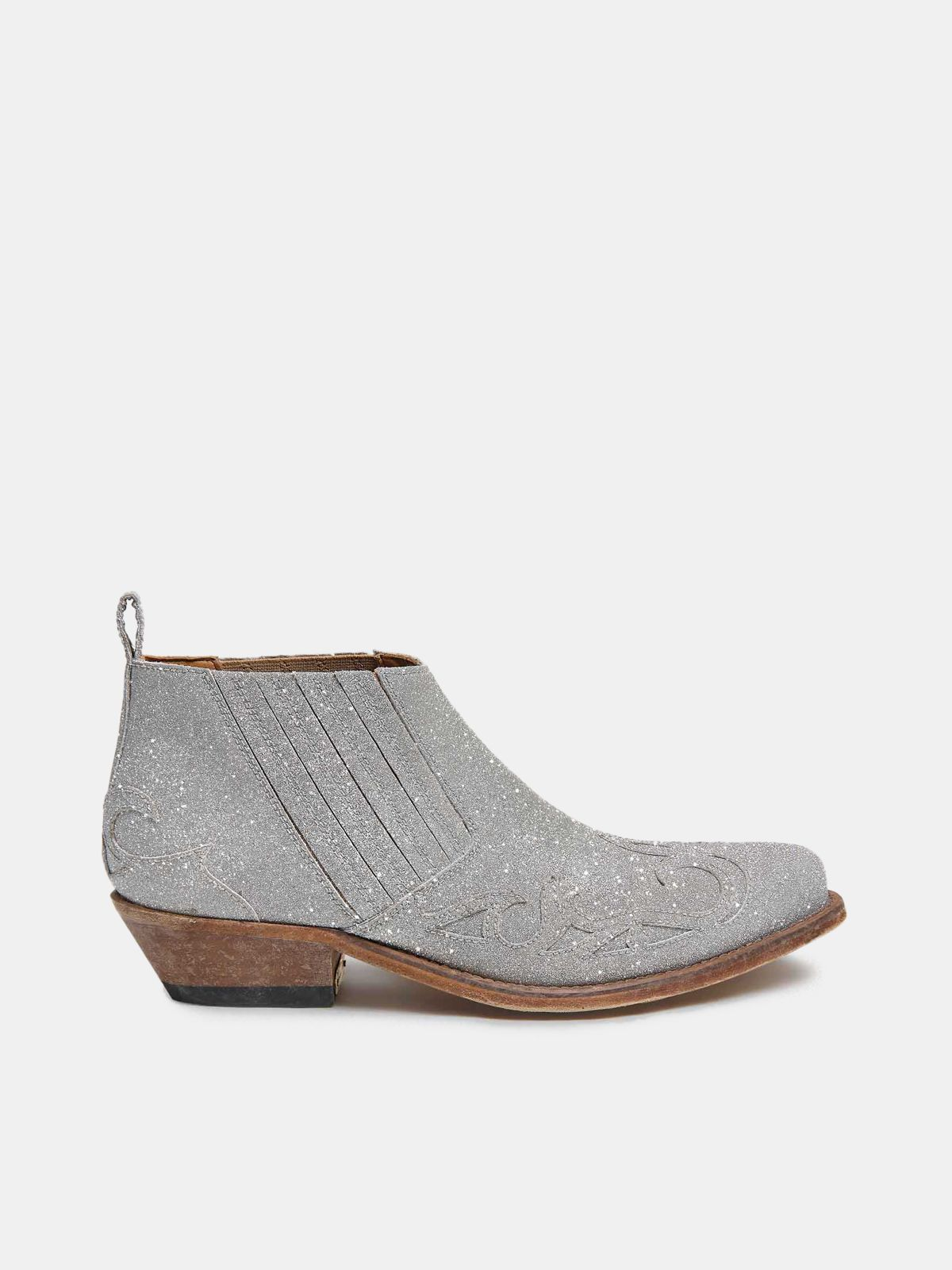 Golden Goose - Silver Santiago Low ankle boots with glitter in
