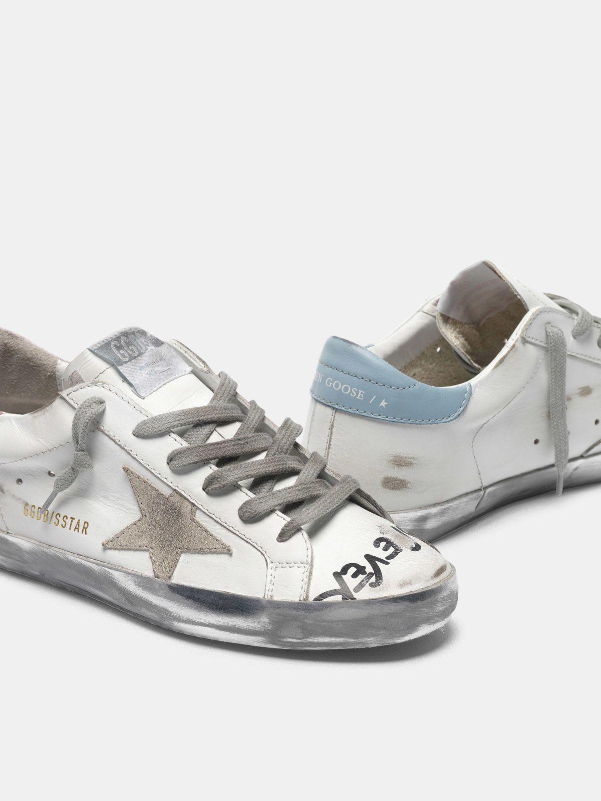 Golden Goose - Sneakers Super-Star con scritta a mano e talloncini bicolore in