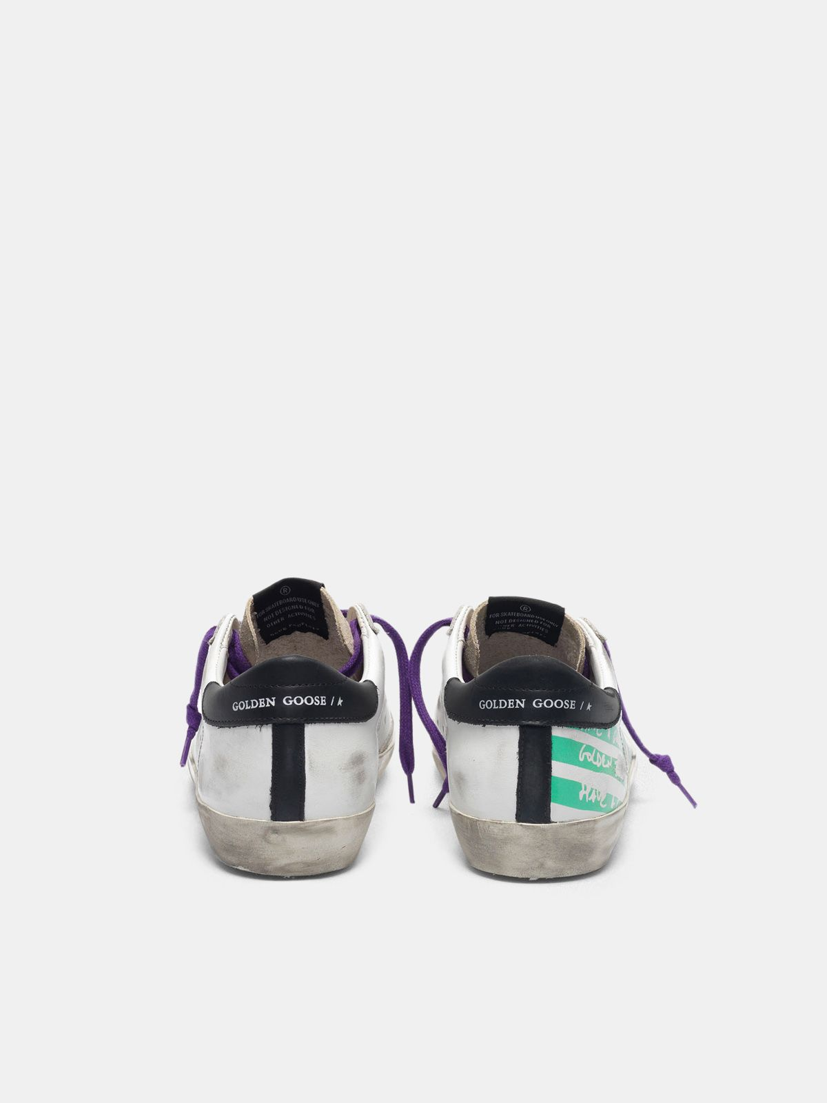 Golden Goose - Sneakers Super-Star con stampa flag verde acqua in