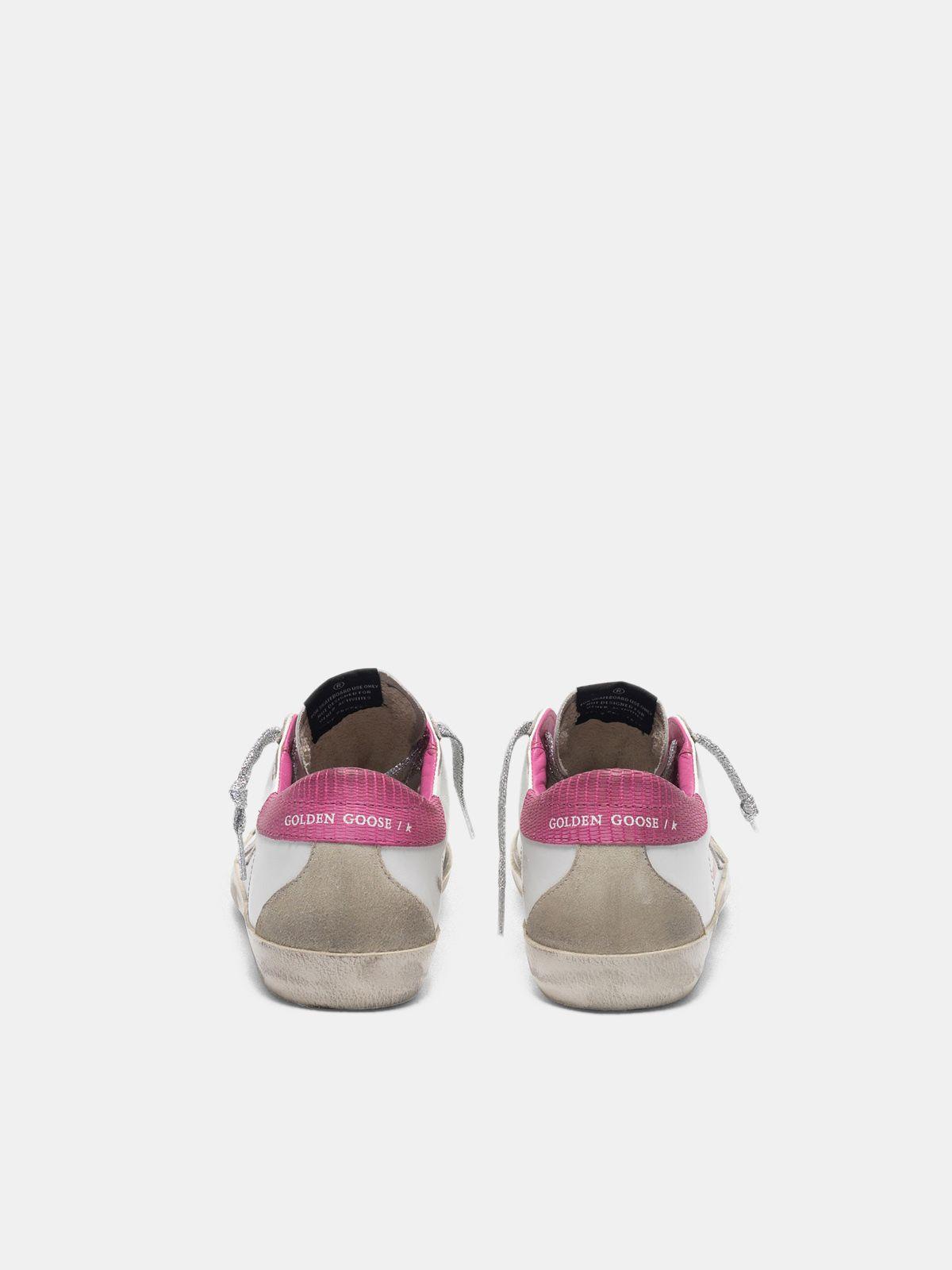 Golden Goose - White Super-Star sneakers with fuchsia lizard-print heel tab in