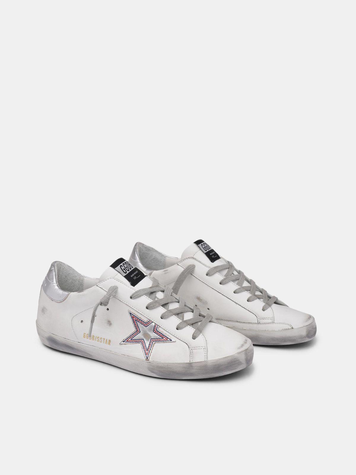 Golden Goose - Sneakers Super-Star stella argentata con stitching a contrasto in