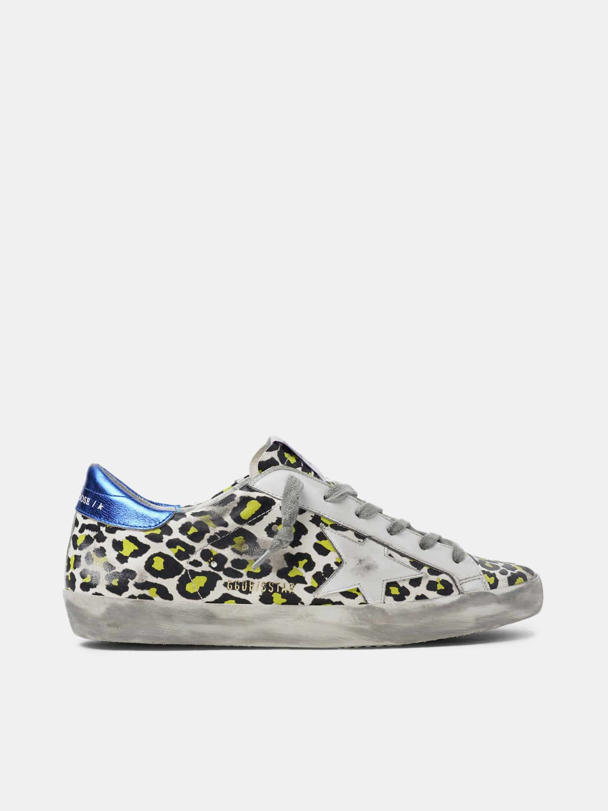 Animal-print Super-Star sneakers with blue laminated heel tab