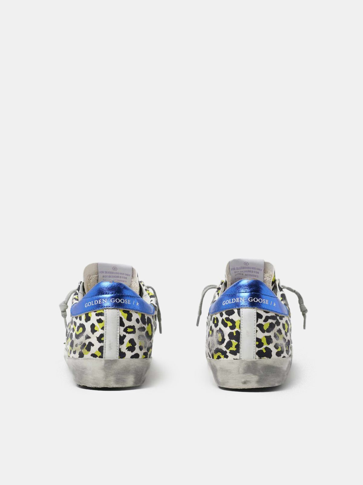 Golden Goose - Sneakers Super-Star animalier con talloncino blu laminato in