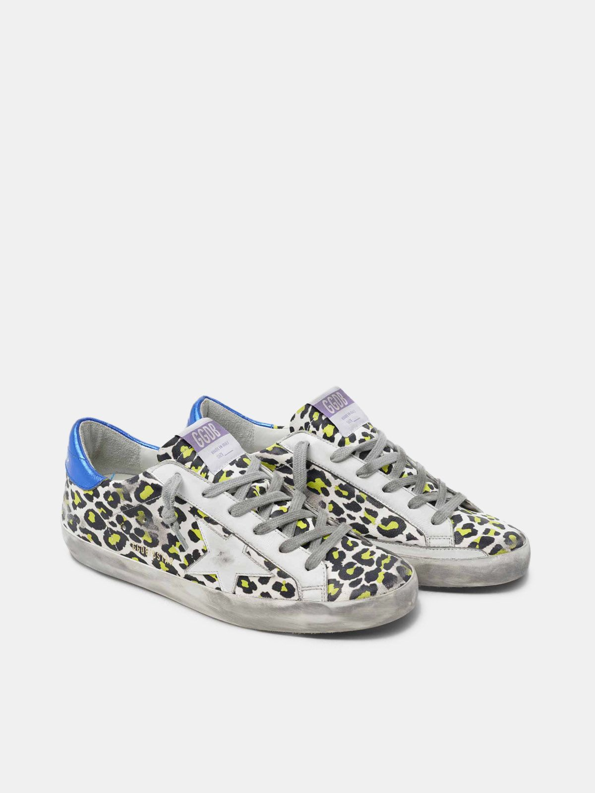 Golden Goose - Animal-print Super-Star sneakers with blue laminated heel tab in