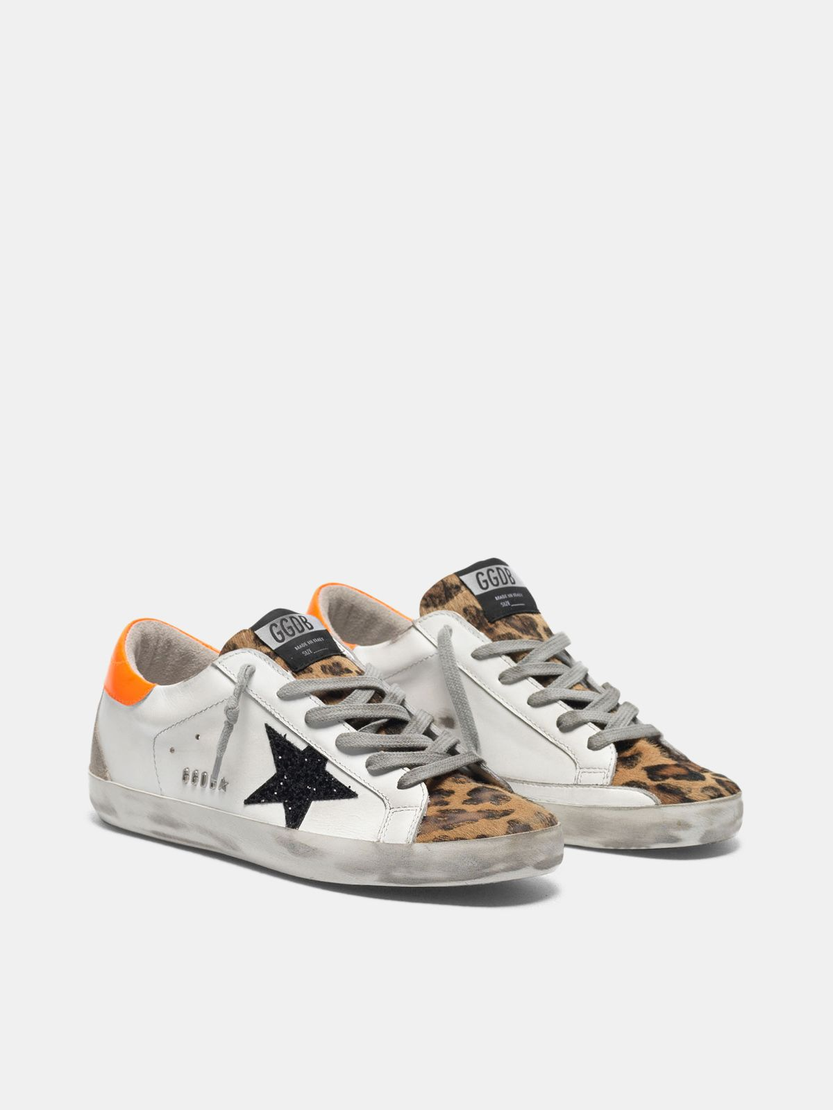 Golden Goose - Super-Star sneakers with leopard-print insert, glittery star and orange heel tab in
