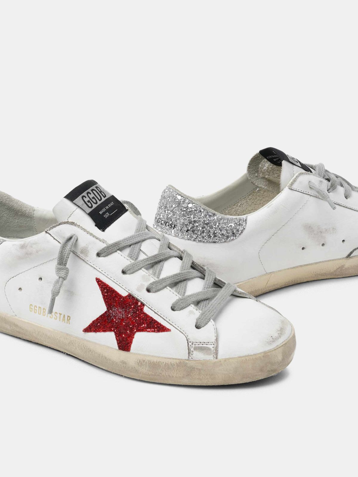 Golden Goose - White Super-Star sneakers in leather with glittery red star in