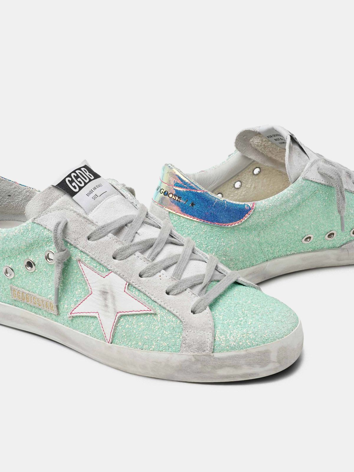 Golden Goose - Super-Star sneakers with green glitter and chrome heel tab in