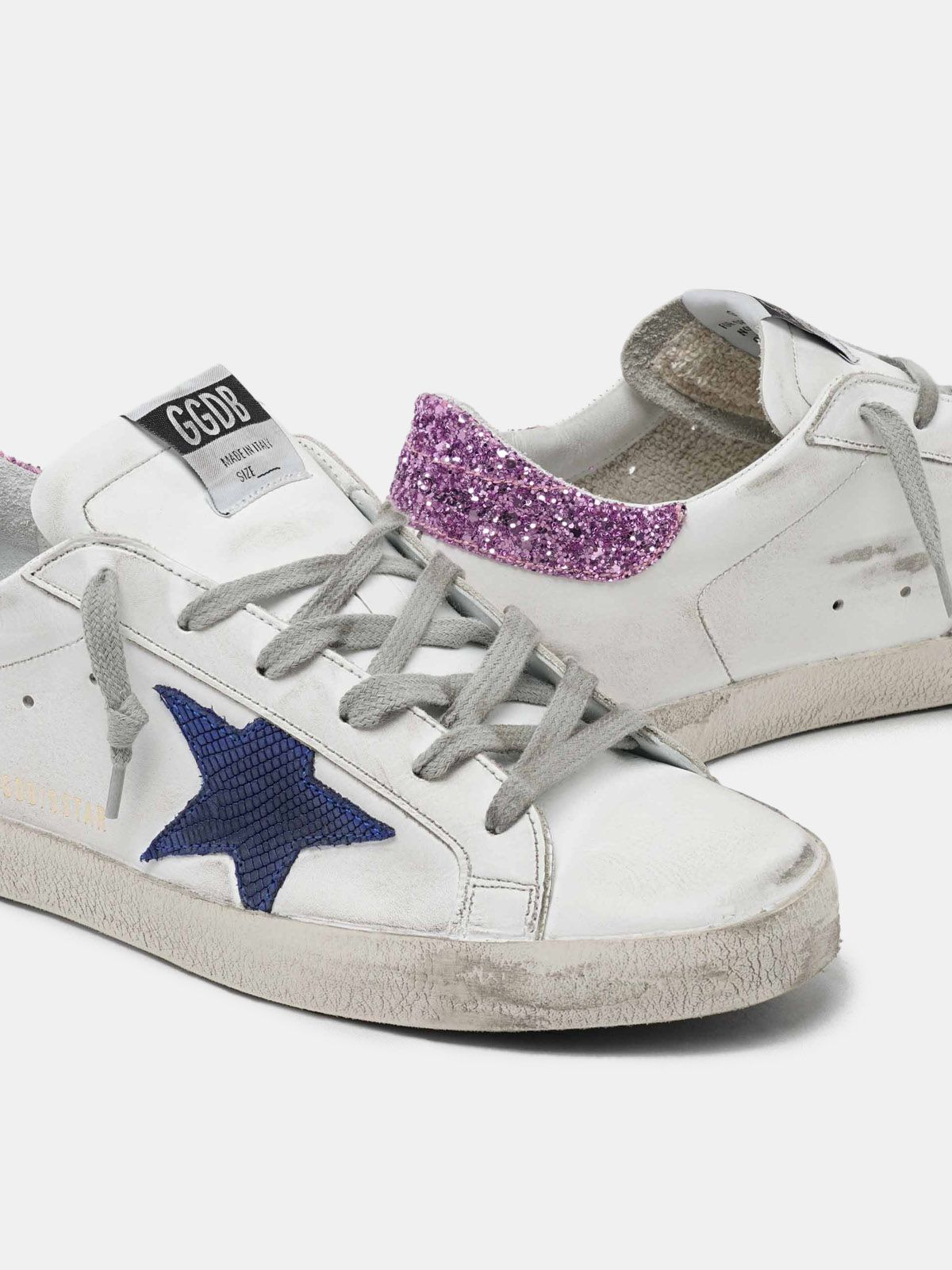Golden Goose - White Super-Star sneakers with blue star and glittery heel tab in