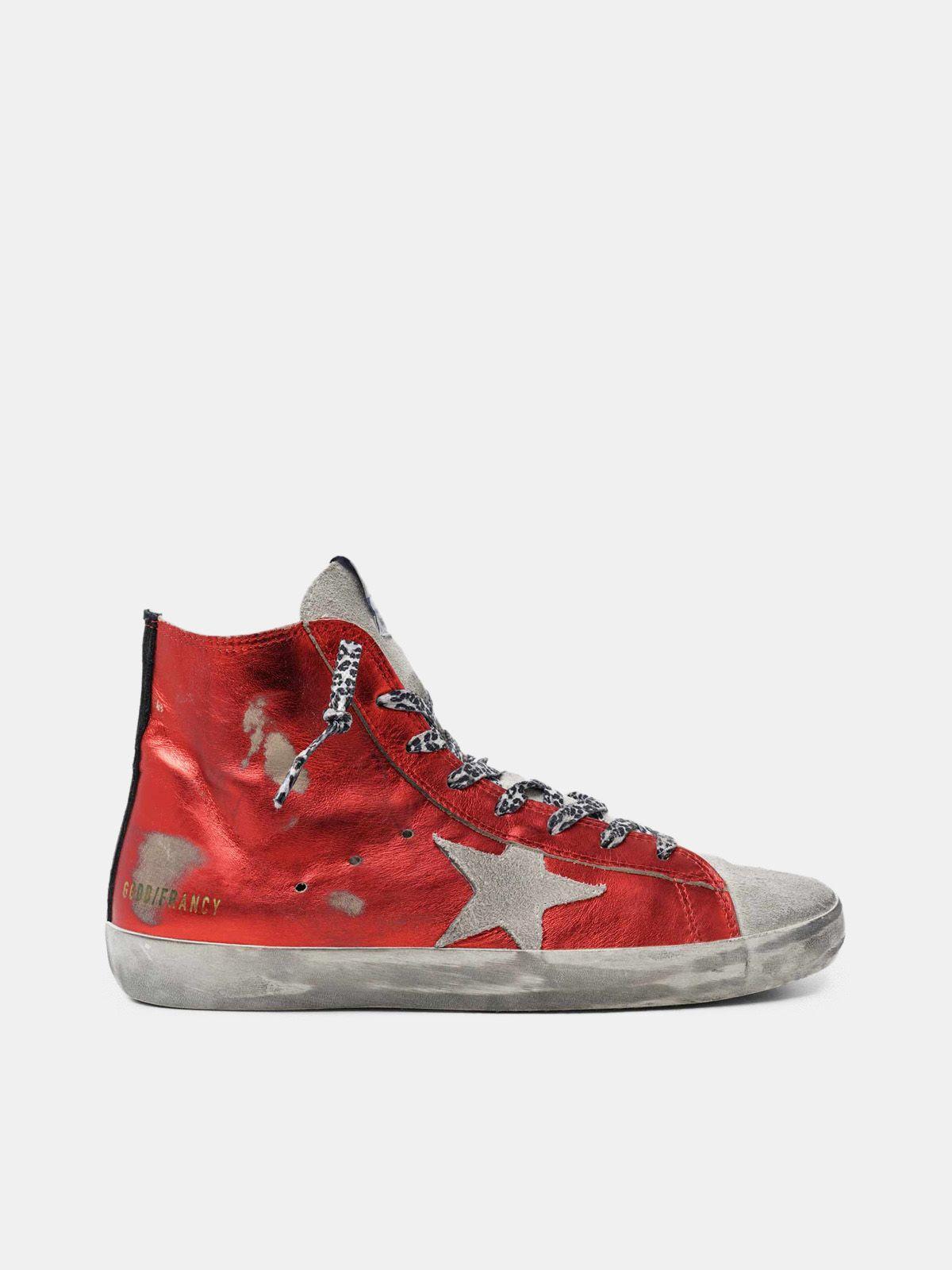 Golden Goose - Sneakers Francy in pelle rossa laminata e lacci leopardati in