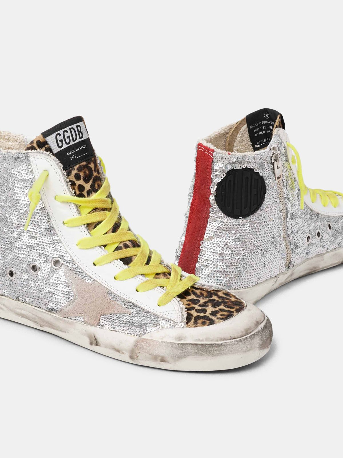 Golden Goose - Sneakers Francy con paillettes argento e cavallino leopardato in