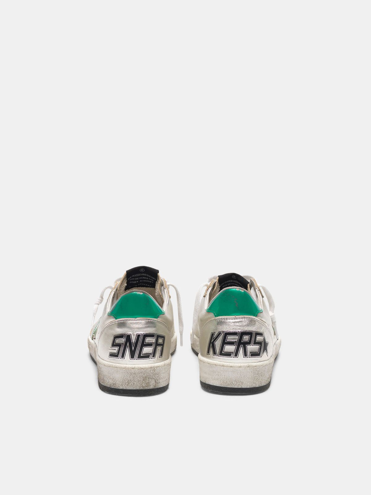 Golden Goose - Silver Ball Star sneakers with green star and heel tab in