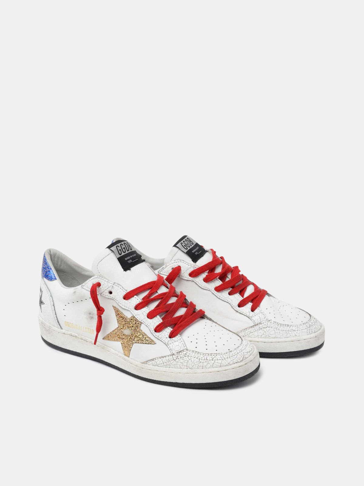 Golden Goose - White Ball Star sneakers with gold star and blue heel tab in