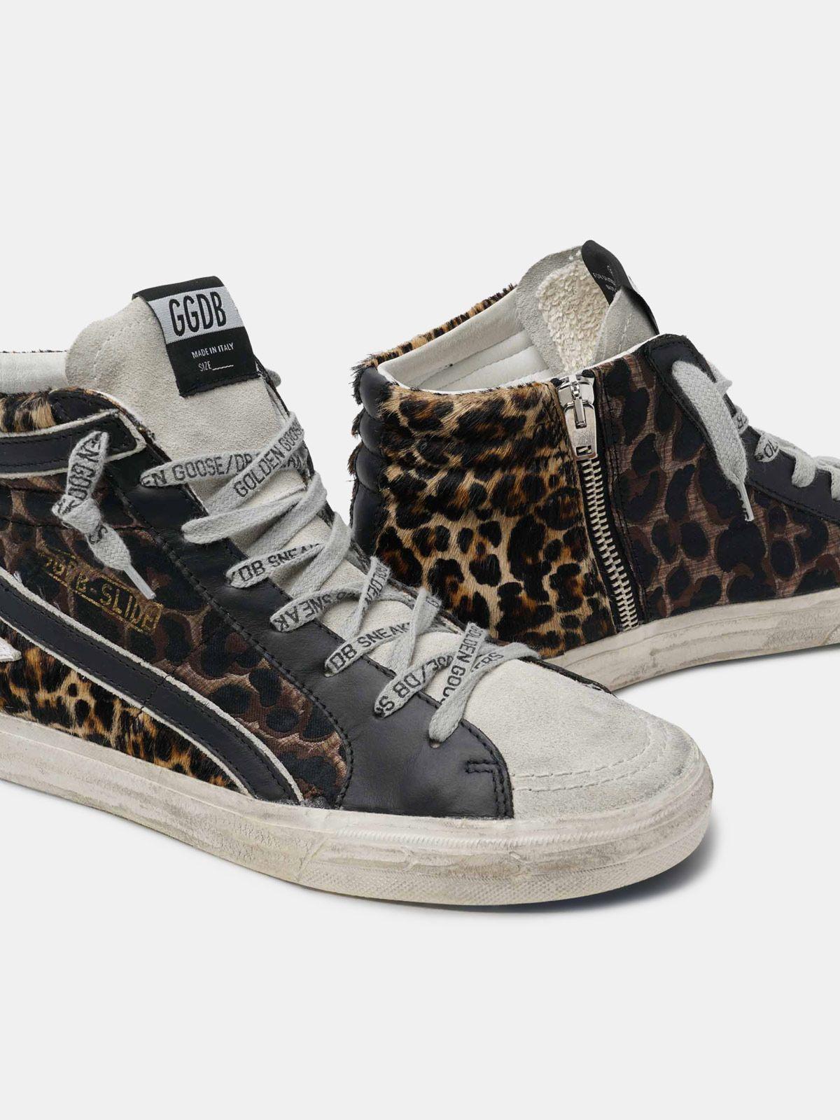Golden Goose - Sneakers Slide in pelle con stampa leopardata in