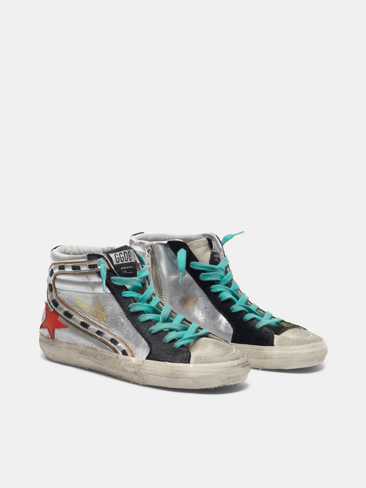 Golden Goose - Slide sneakers in silver laminated leather with red star in