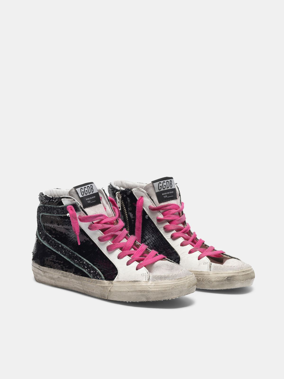 Golden Goose - Sneakers Slide con paillettes nere in