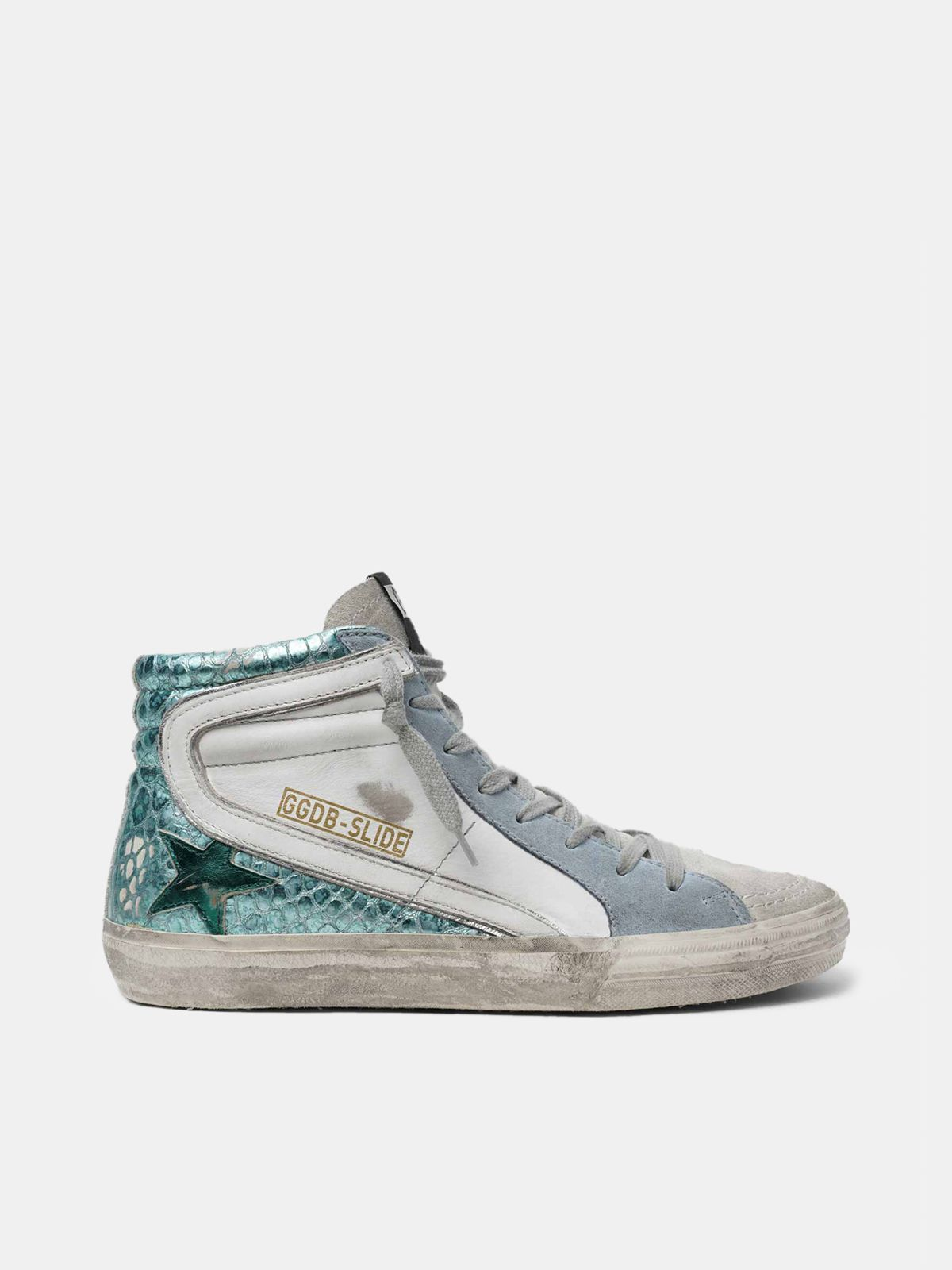 Golden Goose - Sneakers Slide in pelle verde laminata stampa cocco in