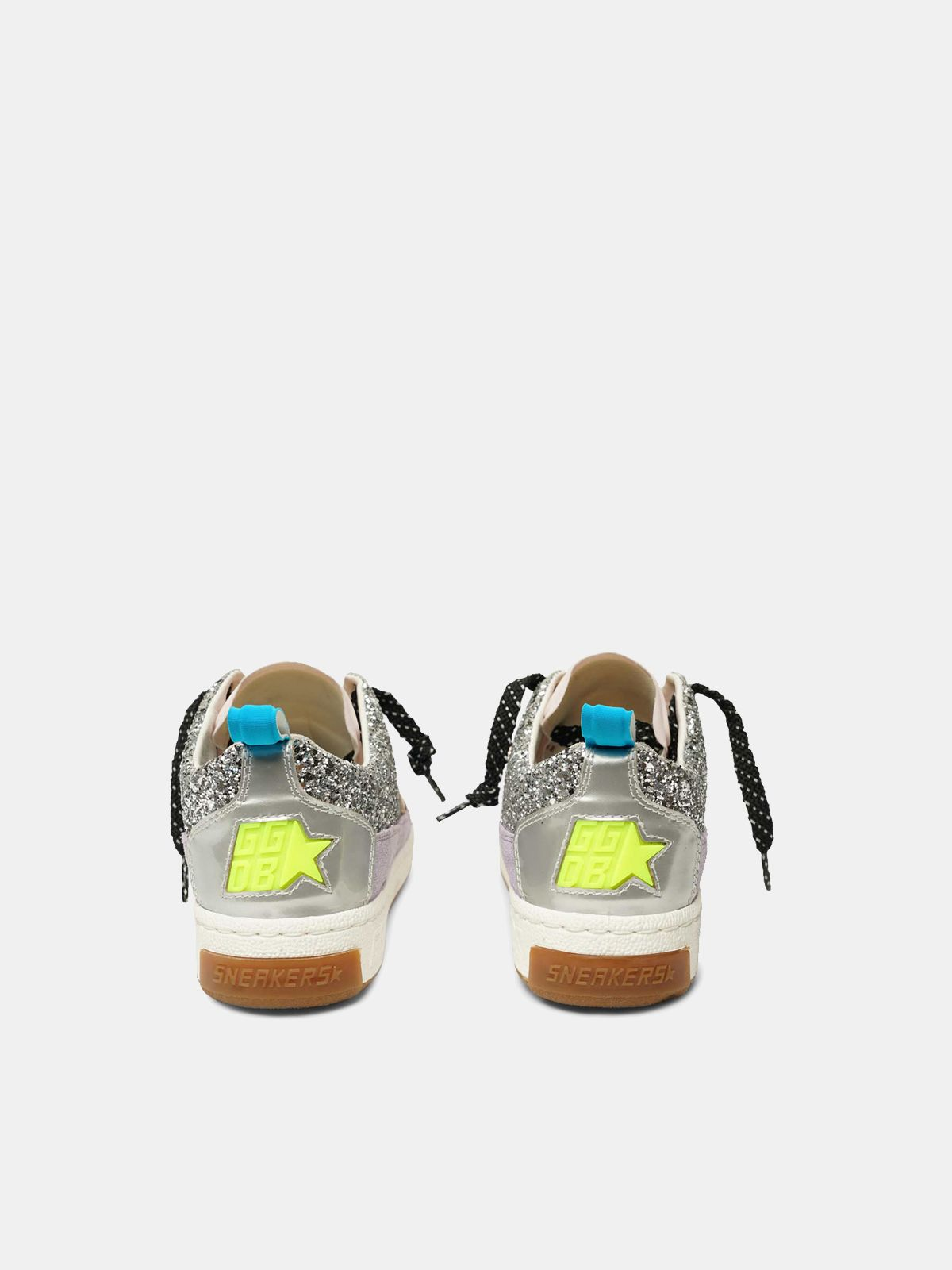 Golden Goose - Sneakers Yeah! in mesh argento e stella rosa in
