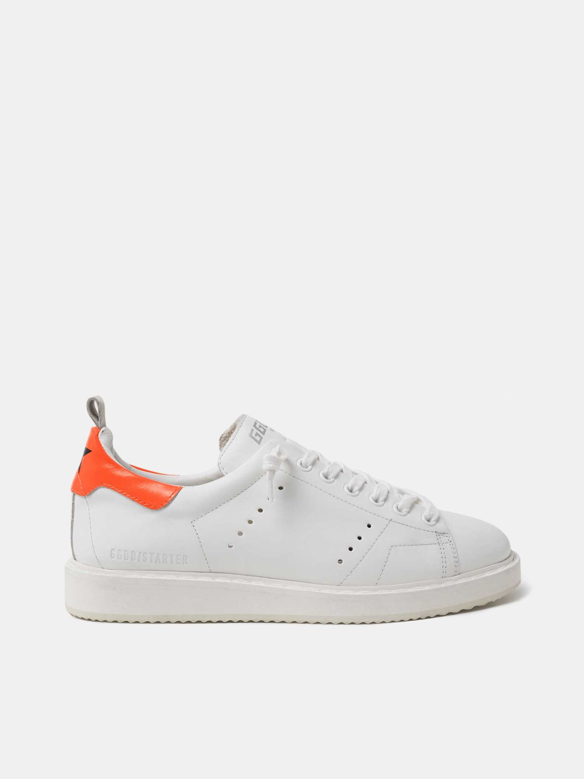 Golden Goose - White Starter sneakers with fluorescent orange heel tab in