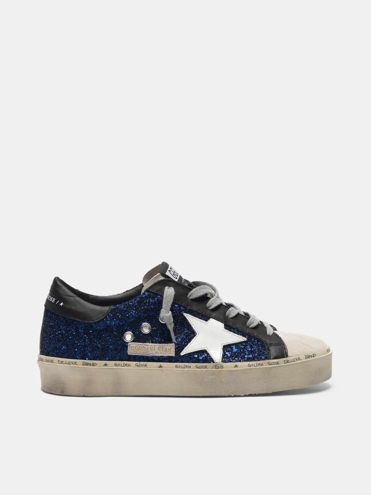 Golden Goose - Hi Star sneakers in suede with blue glitter in