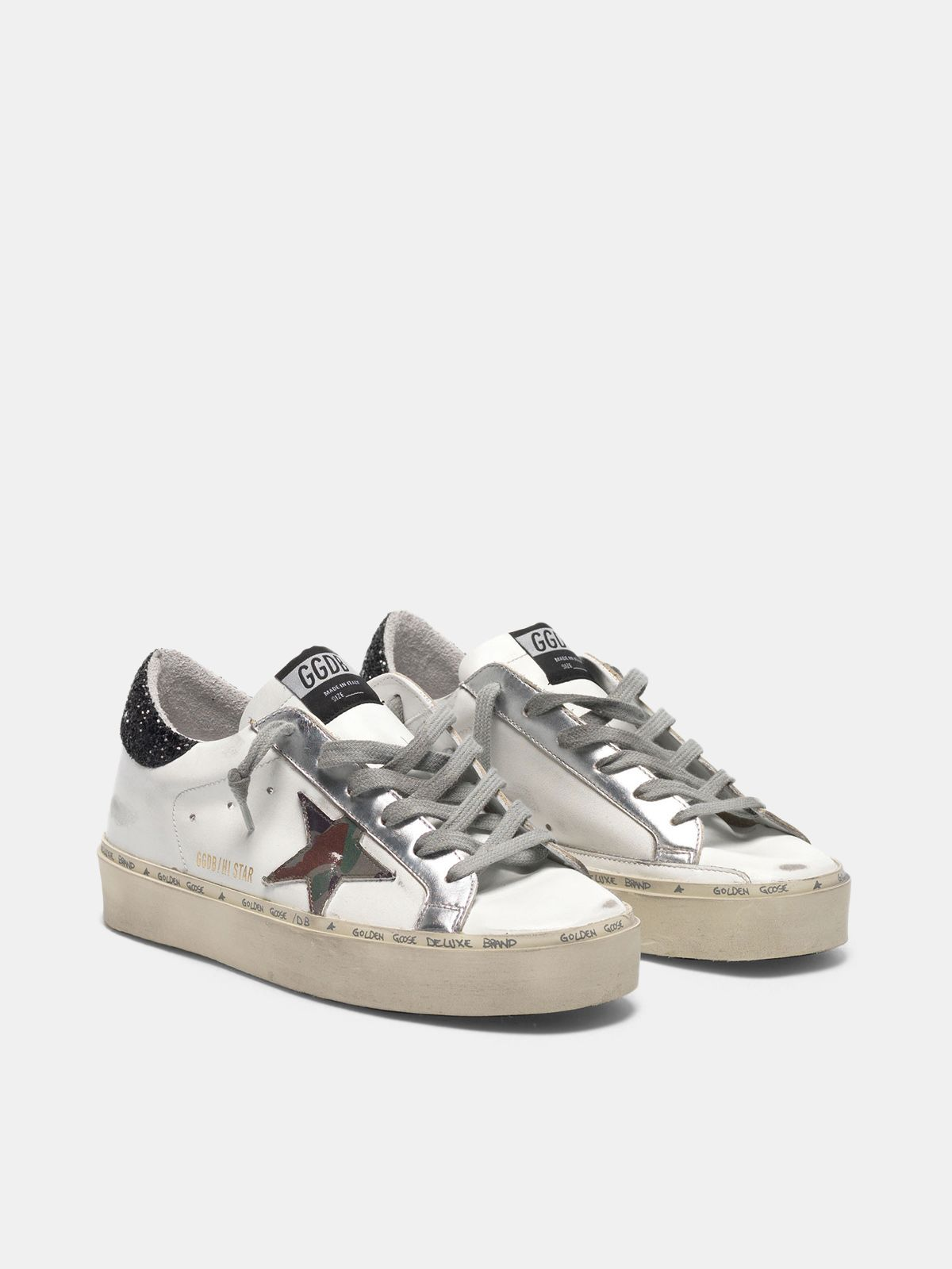 Golden Goose - Hi Star sneakers with camouflage star and glittery heel tab in