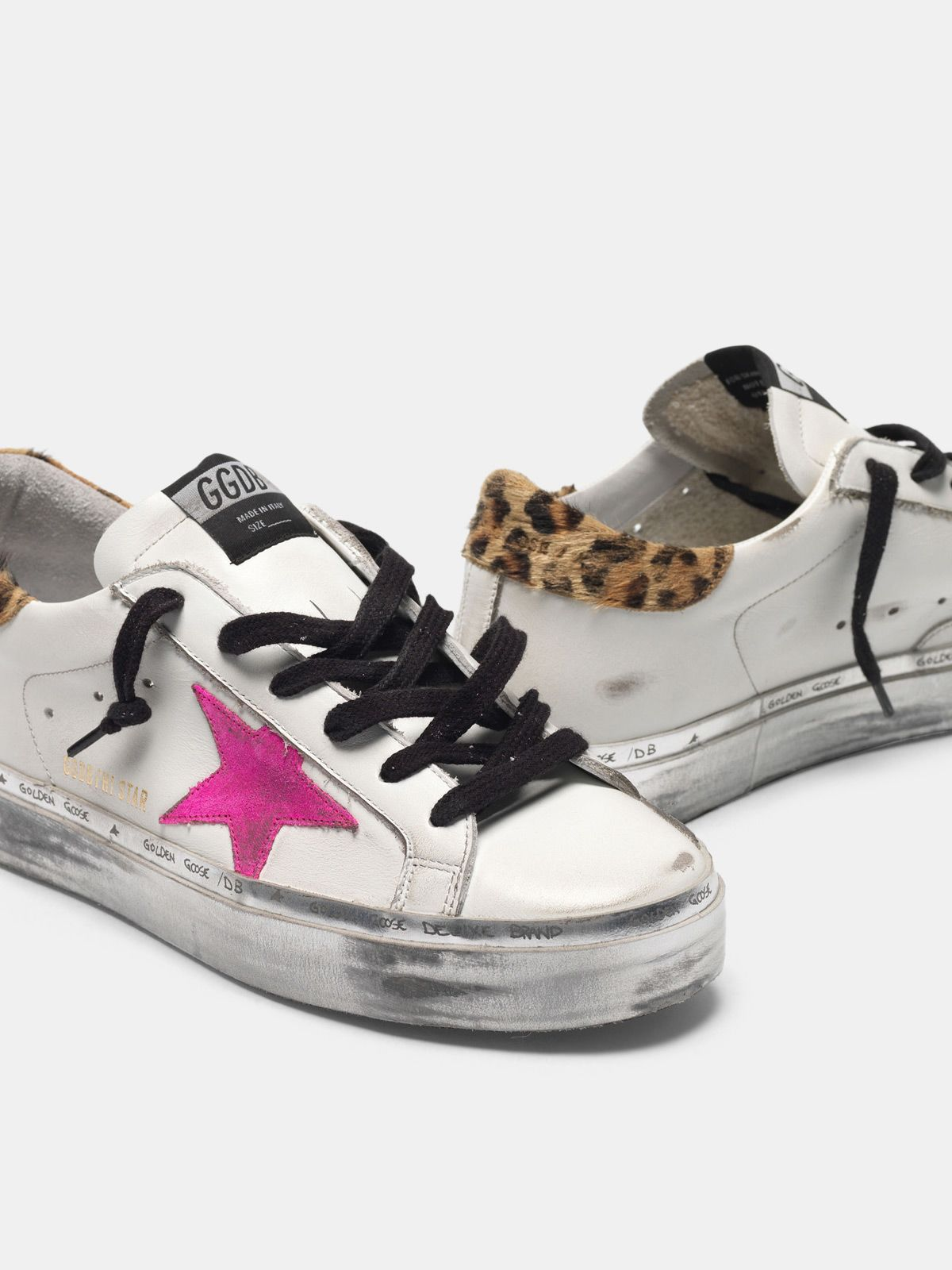 Golden Goose - Hi Star sneakers with fuchsia star and leopard-print heel tab in