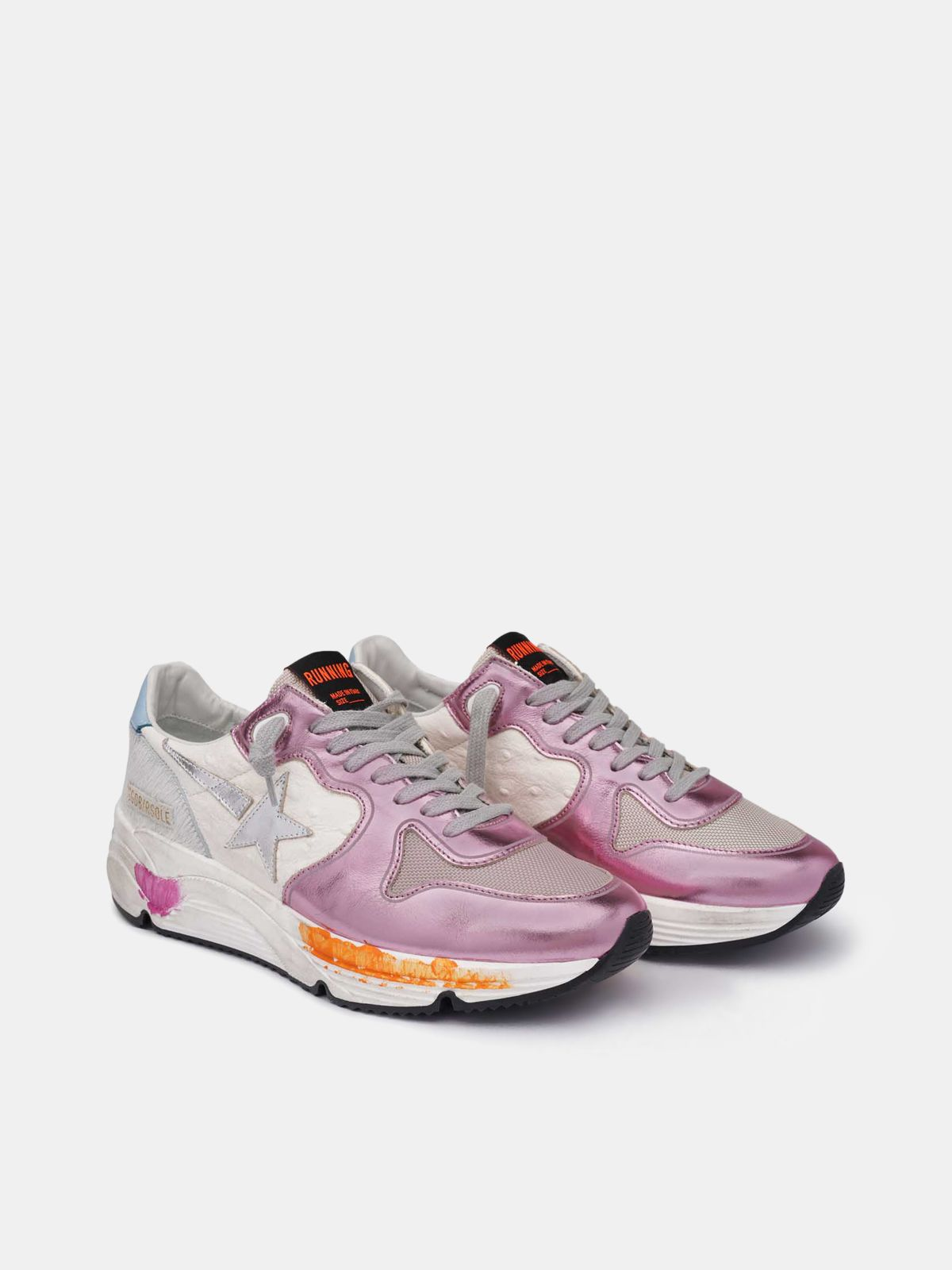 Golden Goose - Running Sole sneakers in laminated pink with silver star in