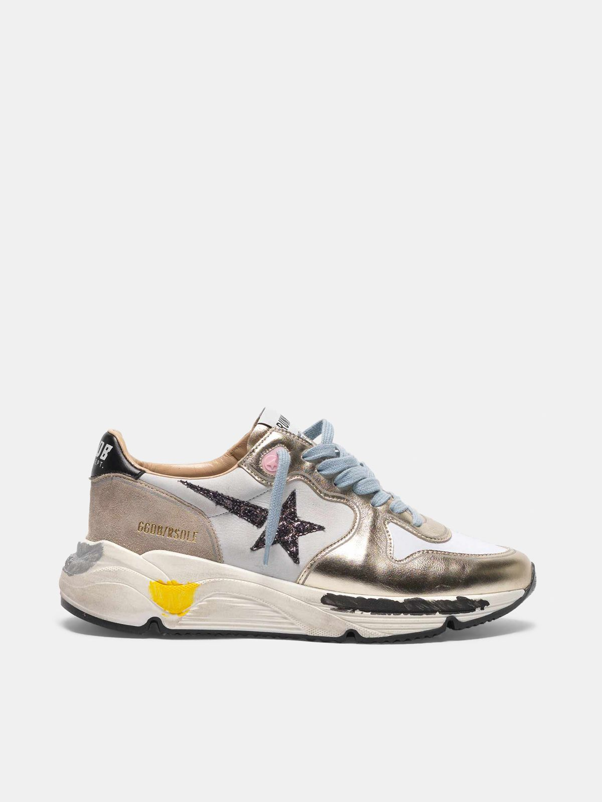 Golden Goose - Laminated Running sneakers, nubuck insert and glittery star in