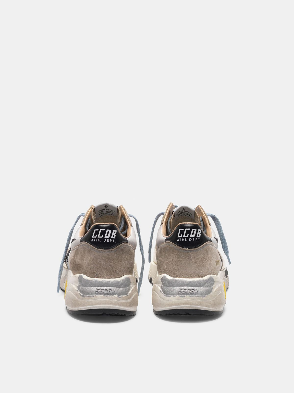 Golden Goose - Sneakers Running laminate, inserto in nabuk e stella glitter in